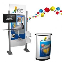 Kiosque de démonstration avec écran et porte document